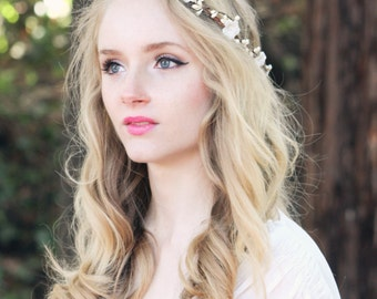 Bridal flower crown, ivory flower head piece, wedding wreath, ivory headpiece, rustic woodland hair band -Forget me not