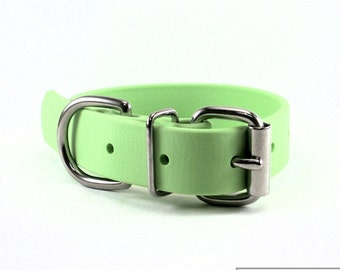 """Mint Pastel Green - 1"""" (25mm) Wide Biothane Dog Collar - Leather Look and Feel - Pastel - Waterproof - Stainless or Brass Hardware"""