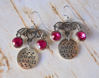 Silver and Pink Harry Potter Themed Mischief Managed Owl Earrings (4343)