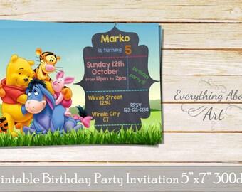 Winnie the Pooh Invitation, Winnie Birthday Invitation, Party Invitation with Winnie the Pooh & Friends, Winnie Invites, Personalized invite