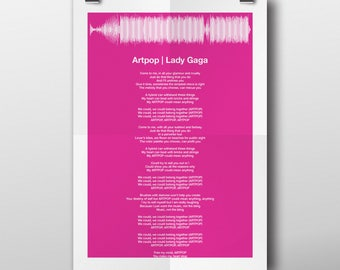 Any Song Lyric Sound Wave Print Fully Personalized Soundwave Picture - Completely Personalisable - A5 A4 A6