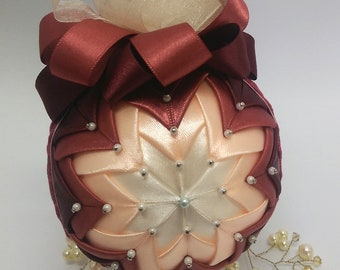 Burgundy quilted decoration