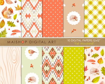Digital Paper Pack 'Fall Woodland' Autumn Scrapbook Papers for Scrapbooking, Invitations, Stickers, DIY Projects, Decoupage, Cards...