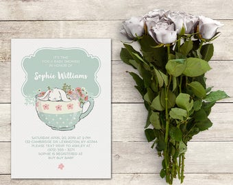 Baby Shower Invitation, Baby Shower Tea, Printable, White Rabbit in Tea Cup, White Bunny Rabbit, Spring Baby,Tea Party, Printable No. IN1014