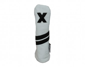 White and Black Leather Hybrid Golf Headcover