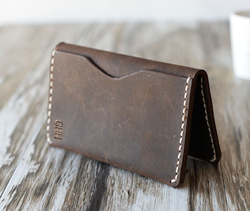 Personalized Leather Wallet 108/ Distressed Leather / Mens