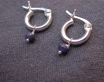Tiny Gem Hoop earrings with genuine sapphire