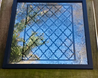 """12x12 MIX And MATCH Antiqued Mirror with  """"Moroccan"""" Pattern"""