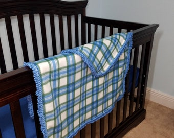 Plaid Blue and Green Baby or Toddler Fleece Blanket with Crocheted Edging