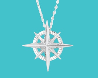 Compass Rose Necklace - Sterling Silver