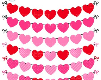Heart Bunting Clipart Set - clip art set of bunting, heart bunting, valentines, heart - personal use, small commercial use, instant download