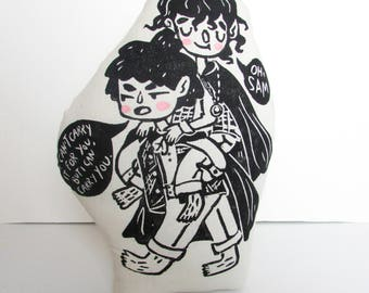 Frodo Baggins and Samwise Gamgee Plush Pillow. Lord of the Rings. Hand Woodblock Printed Pillow. Ready to Ship.