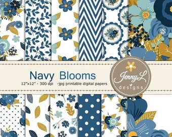 50% OFF Navy Blue Floral digital paper,  Wedding Floral Paper Digital scrapbooking, invitations, birthday, wedding, Planners