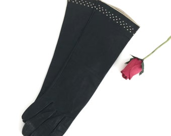 Gorgeous French Black Leather Gloves Classic Length Size 7