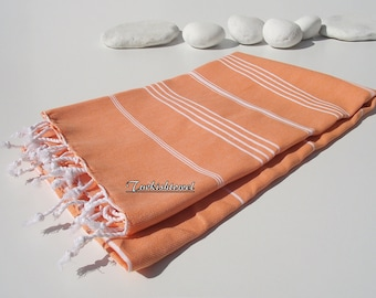 Set of 2-Best Quality Hand- woven Turkish Cotton Bath Towel or Sarong-Orange and White Stripes