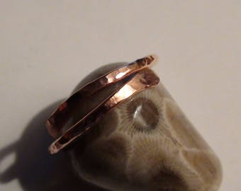 Adjustable Small Flared Hammered Copper Rings