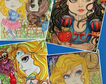 Fairytale Fantasy Princesses Greeting Card Collection by Leslie Mehl