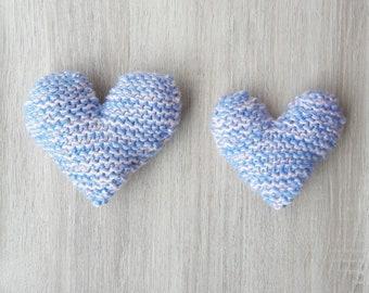 Blue Catnip Hearts knitted cat toy, catnip cat toy, crochet cat toy, jouet coeur herbe aux chats,catnip kicker,catnip hugger,knit catnip toy