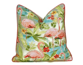 Flamingo Outdoor Pillow Cover-Tropical Print Pillow Cover-Hot Pink,Turquoise,Yellow,Green Outdoor Pillow