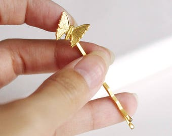 gold butterfly hair pin . choose silver or gold . butterfly bobby pin . woodland hair accessory . botanical wedding hair clip moth hair pin