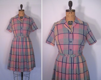 1950s plaid shirtwaist dress with belt • 50s fit and flare day dress • vintage short sleeve shirt dress with pleated skirt