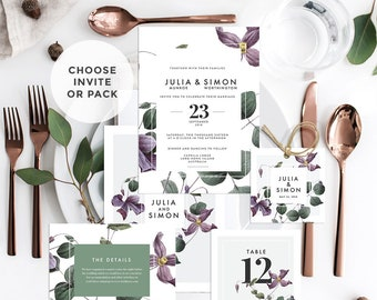 Mod Flower Wedding, Save the Date Invitation, Menu, Tags, Thank You, Placecards, Details (DIY Printables)