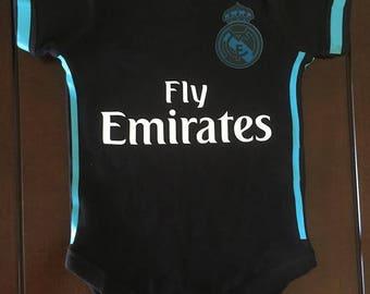 real madrid baby soccer bodysuit