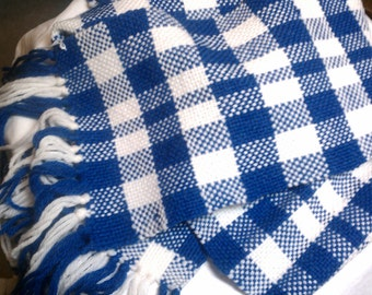 Handwoven Plaid Scarf in blue & white - Free Shipping in USA