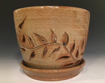 Brown Stoneware Orchid Pot Hand Carved