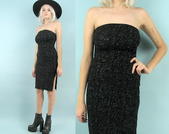 90s Black Sparkly Dress, Size Small to Extra Small XS, Vintage Stretchy Strapless Tube Dress, Side Slit, Glittery, Rave, Holiday, New Years