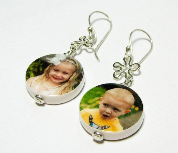 Photo Charm Earrings - Sterling Hooks - P15Ea