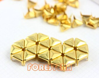 300Pcs 8mm Gold Triangle Studs Metal Studs (JT08)
