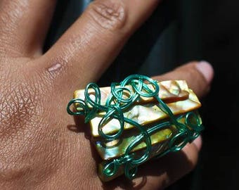 Green Wire Wrapped Shell Ring