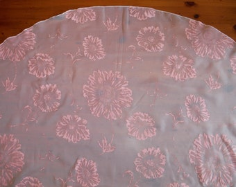 Vintage Pink Flocked Tablecloth - 1970's Shabby Chic Pink Nylon Organza Flock Flocking Floral Flower Table Linen - '70's Flower Tablecloth