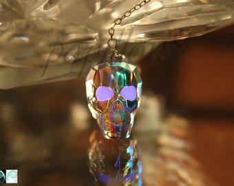 CRYSTAL Skull / Skull Necklace / Glow in the Dark / Crystal AB Skull / Crystal Necklace /