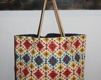 Bag - Aztec Slouchy Bag with Jute Handles and Navy Lining