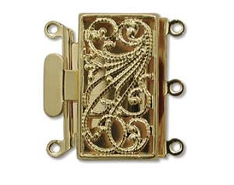 3 Strand 13X22mm Box Clasp Gold Plate Over Base Metal Push Pull Clasp Three Strand Rectangle Clasp Multi Strand Clasp