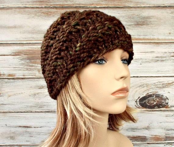 Knit Hat Womens Hat - Swirl Beanie in Mesquite Brown Knit Hat - Brown Hat Brown Beanie Womens Accessories Winter Hat