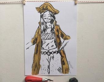 A4 Linocut Print, Pirate, Manga Pirate, Art, Handprinted, Home Decor