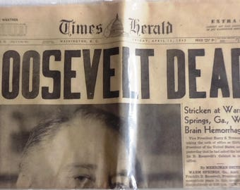 FDR Dead - Original Newspaper  April 13,1945