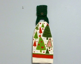 Full Size Kitchen Towel with Removable Towel Holder  Holiday Trees Christmas