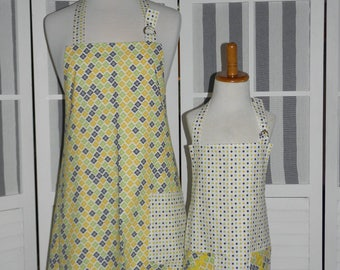 Lemon Lime Mommy and Me matching Apron Set for Adult & Child