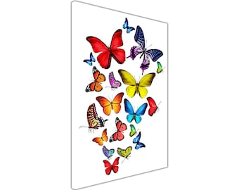 Colourful Flying Butterflies on Framed Prints Canvas Wall Art Pictures Home Decoration Nature Photos 18 mm Thick Frame