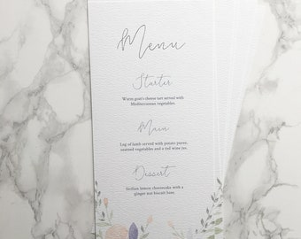 Floral Watercolour Wedding Menu// custom stationery // hand painted // spring wedding // calligraphy menu
