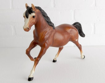 Vintage Breyer 1970s Bay Running Mare, Traditional Sized Breyer Model Horse Figurines