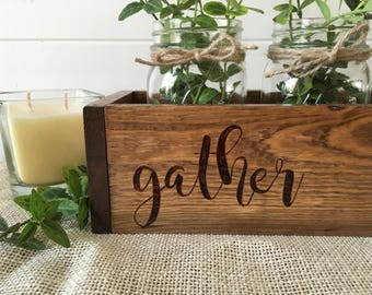 Rustic Farmhouse Wood Burned Centerpiece for Table- Personalized Wood Centerpiece - Mason Jar Centerpiece - Made to Order Centerpiece