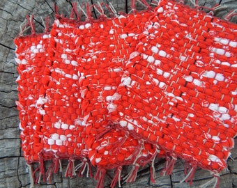 Red with small white accents handwoven mug rugs, coasters, hot pads