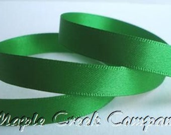 "5 yards Emerald Green Double Face Satin Ribbon, 5 Widths Available: 1 1/2"", 7/8"", 5/8"", 3/8"", 1/4"""