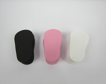 "2mm Doll Soles, 36-Pack Doll Soles, 12-Pink, 12-Black, 12- White, 2mm Foam Doll shoe Soles, 18"" die cut doll soles, foam doll shoe supplies"