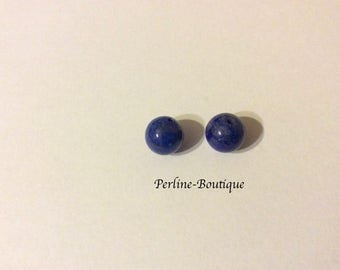 2 beads 8mm lapis lazuli semi-percees